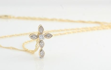 14 kt. Yellow gold - Necklace with pendant - 0.43 ct Diamond