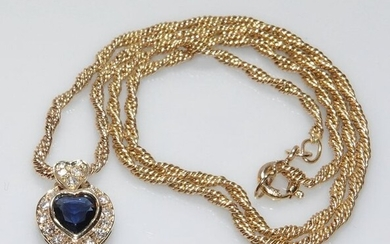 14 kt. Yellow gold - Necklace with pendant Sapphire 0.50 ct. - 16 diamonds 0.25 ct. G / SI-VS