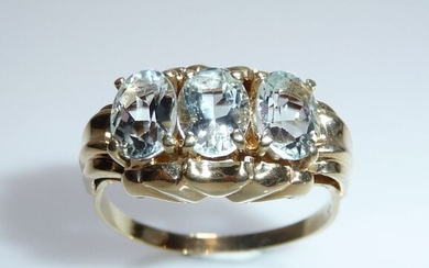 14 kt. Yellow gold - Ring, Large size 63 / 20.1 mm 3 teal 1.80 ct.
