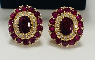 14ct Rose Gold Ruby and Diamond stud earrings...
