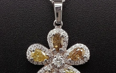 1.67ct Natural Fancy Mix Color Flower Diamonds - 14 kt. White gold - Ring - ***No Reserve Price***