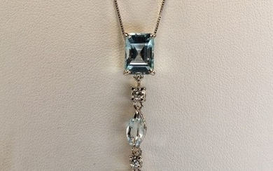 18 kt. White gold - Necklace with pendant - Aquamarines, Diamonds