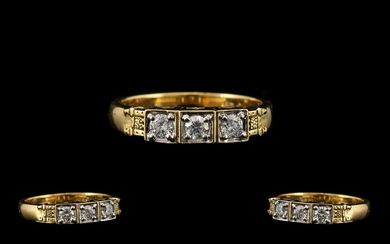 18ct Gold - Nice Quality 3 Stone Diamond Ring Set In a Super...