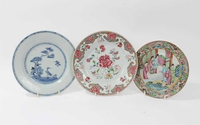 18th century Chinese famille rose porcelain plate, an 18th century Chinese blue and white plate, and a 19th century Canton plate (3)
