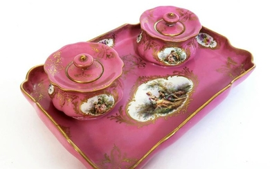 19th C. Hand Painted Meissen Porcelain Inkwell