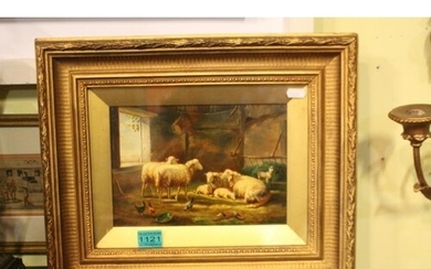 "19th Century School ""Hens and Sheep in a Stable"" Oil (36cm x..."