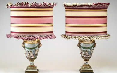 (2) Capodimonte style porcelain lamps w/custom shades