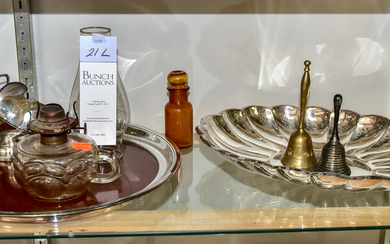 (2) Silverplate Trays, Sugar Caddy and Lamp