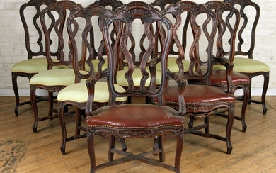 SET OF 10 CARVED OAK DINING CHAIRS CIRCA 1920