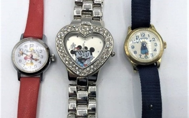 3 Assorted Novelty Watches: Cinderella, Minnie Mouse