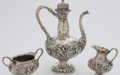 (3) Pcs. Unger Brothers sterling silver tea