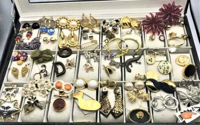 [64] Assorted Costume Jewelry Pins, Brooches, Earrings