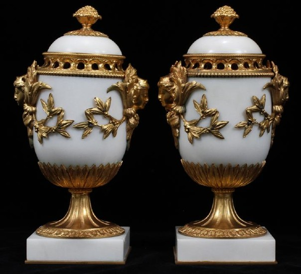 FRENCH BRONZE AND MARBLE COVERED MANTEL URNS