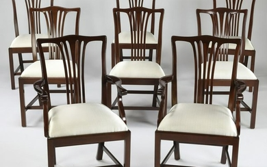 (8) American Chippendale style mahogany dining chairs
