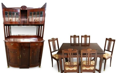 (8 Pc) Art Deco Mother of Pearl Inlaid Dining Set