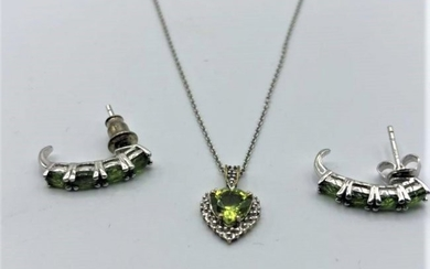.925 Sterling Silver Necklace and Earrings Green Stones