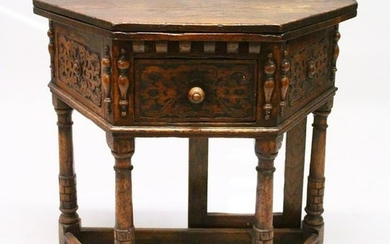 "A 17TH CENTURY STYLE OAK ""CREDENCE"" TABLE, with shaped"