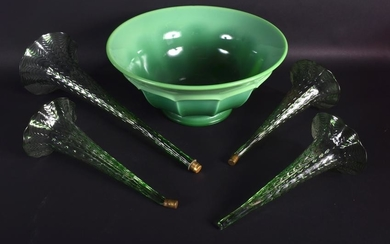 A 1950S URANIUM GREEN GLASS DECO STYLE BOWL together