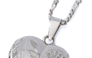 A 9CT WHITE GOLD LOCKET ON CHAIN; hinged heart shape locket engraved with a flower with double photo compartments with glass liners,...