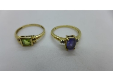 A 9ct gold amethyst and diamond set ring, size L 1/2 - and a...