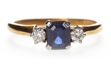 A BLUE GEM AND DIAMOND RING