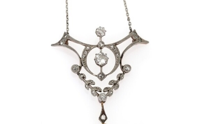 SOLD. A Belle Époque diamond and pearl necklace set with numerous old and rose-cut diamonds...