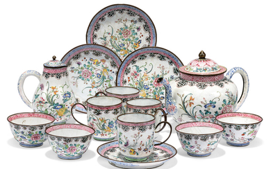 A CHINESE PAINTED ENAMEL TEA SERVICE