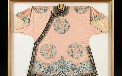 A CHINESE QING DYNASTY GILT APRICOT GROUND SILK WOMEN'S