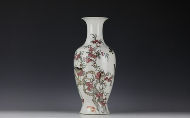 A Chinese Famille Flower and Peach Porcelain Vase