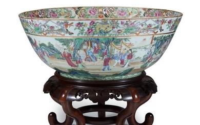 A Chinese export porcelain rose mandarin punch bowl 19th...
