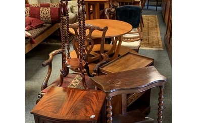A Chippendale style armchair, a mahogany plant stand with un...