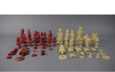 A Collection of Late 19th Century Chess Pieces, Many in Need...