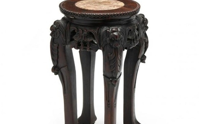 A Diminutive Chinese Carved Wood Table with Marble