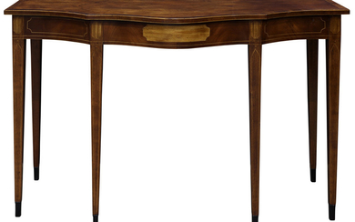 A Federal style mahogany and satin wood serving table