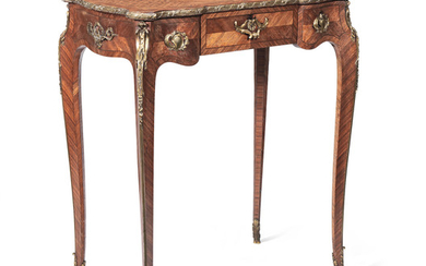 A French late 19th century gilt bronze mounted kingwood, bois de bout marquetry and parquetry table a ecrire