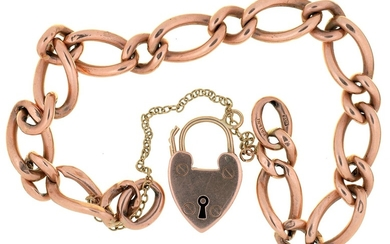 A GOLD CURB LINK BRACELET, MARKED 9CT WITH 9CT GOLD PADLOCK,...