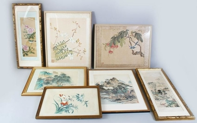 A GROUP OF SEVEN CHINESE PAINTINGS ON SILK, various