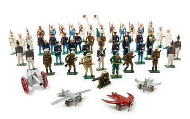 A Group of American Painted Metal Toy Soldiers