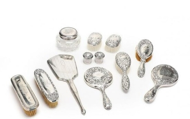 A Group of Sterling Silver Vanity Items