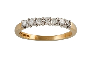 A HALF ETERNITY DIAMOND RING, of approx. 0.45ct in total, mo...