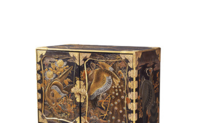 A JAPANESE LACQUER CABINET AND STAND, MEIJI PERIOD (LATE 19TH CENTURY)