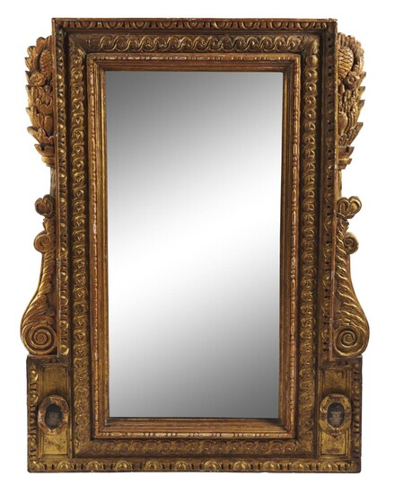 A LARGE ITALIAN GILT WOOD MIRROR LATE 18TH/EARLY 19TH CENTURY