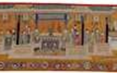 A LARGE POLYCHROME SILK AND GOLD EMBROIDERY WITH FIGURATIVE SCENES.