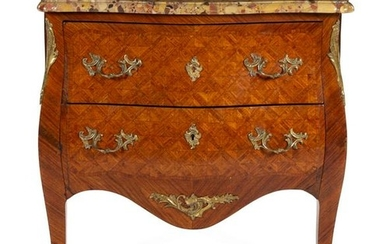 A Louis XV Style Parquetry Marble-Top Commode