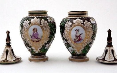 A MAGNIFICENT PAIR OF BOHEMIAN GLASS VASES