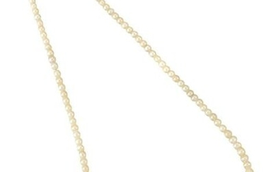A NATURAL SALTWATER PEARL CHOKER NECKLACE, WITH DIAMOND