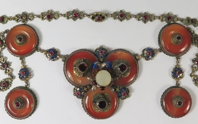 A Nineteenth Century Austro-Hungarian Necklace set with semi...