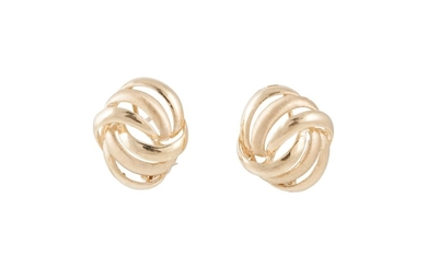 A PAIR OF 9CT GOLD EARRINGS, of knot design