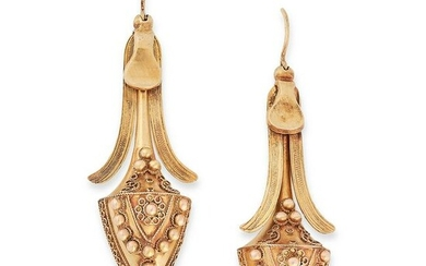 A PAIR OF ANTIQUE DROP EARRINGS, 19TH CENTURY in high