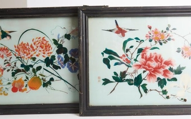 A PAIR OF CHINESE REVERSE GLASS PAINTINGS, FIRST HALF 20TH CENTURY, SEAL MARKS TO BOTH, W.57CM, LEONARD JOEL LOCAL DELIVERY SIZE: SMALL